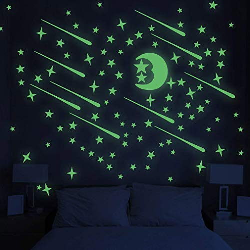 PrettyFNT Glow in Dark Stars and Moon Wall Stickers, Glowing Stars for Ceiling and Wall Decals, Perfect for Kids Bedroom Living Room or Birthday Party, Total 206 PCS]()