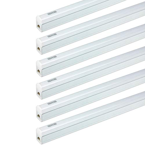 - (Pack of 6) GRG LED T5 Integrated Single Fixture, 2Ft 10W 1100lm 6500K, Linkable Utility Shop Light, Garage Light, LED Ceiling & Under Cabinet Light, T5 T8 Fluorescent Tube Light Fixture Replacement