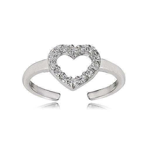 (Hoops & Loops Sterling Silver Cubic Zirconia Heart Toe Ring)