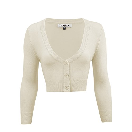 YEMAK Crop Sweater Cardigan, 46 Colors, Vintage Inspired, S - 4X, Pin up, (Fitted Cardigan Sweater)