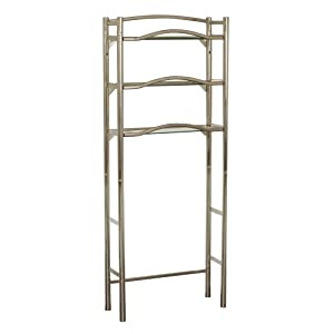 Zenna Home No Tools SlideFit Extended Height Over-the-Toilet Bathroom Spacesaver, With 3 Storage Shelves, Brushed Nickel