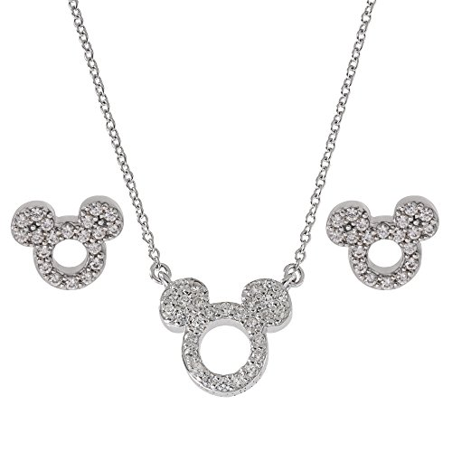 - Disney Women's Jewelry Mickey Mouse Sterling Silver Cubic Zirconia Pendant and Earrings Set Mickey's 90th Birthday Anniversary