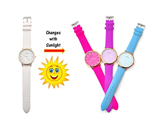 Changing Color Watch (Geneva Watch Sunlight Color Changing Watch Woman Watch leather strap men watch kids watch in an elegant gift box set (Red))