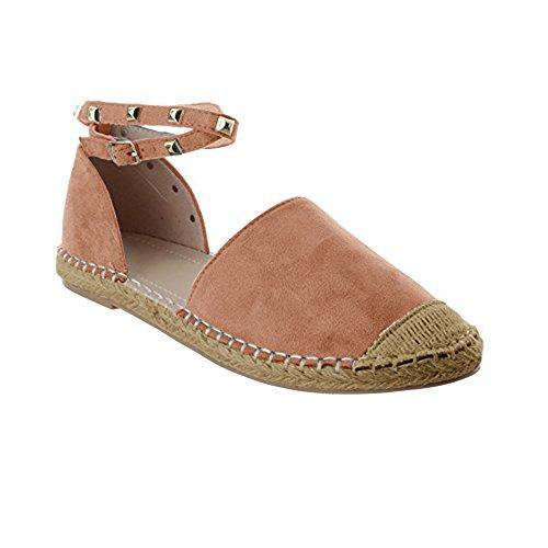 Schnalle rosa Flache Damen Sandale Knöchel Sommer Espadrilles Niet Gemijacka Schuhe Binden 2 Ausgeschnitten Klassischen Riemen 1EUxnvq