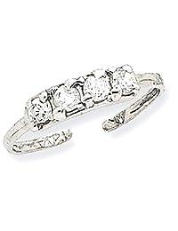 IceCarats 14k White Gold CZ Toe Ring