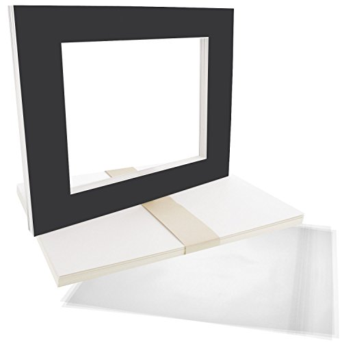 US Art Supply Art Mats Acid-Free Pre-Cut 16x20 Black Picture Mat Matte Sets. Includes a Pack of 10 White Core Bevel Cut Mattes for 11x14 Photos, Pack of 10 Backers & 10 Clear Sleeve Bags by US Art Supply