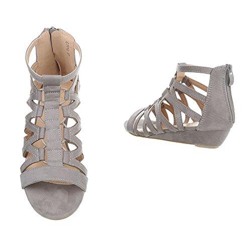 Schuhcity24 Damen Schuhe Sandaletten Keil Wedges Pumps Grau