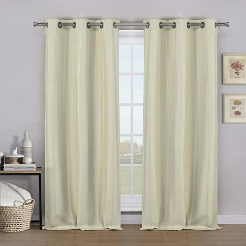 - Kelvin - Kaelan Narrow Stripe Linen Blackout Room Darkening Grommet Top Window Curtains Pair Panel Drapes for Bedroom, Living Room - Set of 2 Panels - 36 X 84 Inch - Linen