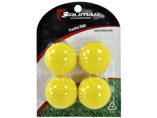 Orlimar Polyurethane Limited Flight Dimpled Practice Ball (Yellow, 4-Pack), Outdoor Stuffs