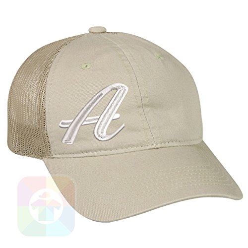 Custom Tshirts and Hats OutdoorCap Unstructured Velcro Baseball Mesh Dad Hat With A - Initials Design on it. #1842 by Custom Tshirts and Hats