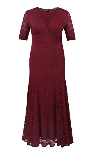 [Sapphyra Women Summer Floral Lace 3/4 Sleeve Floor Length Cocktail Prom Dress 2X] (Plus Size Evening Wear)