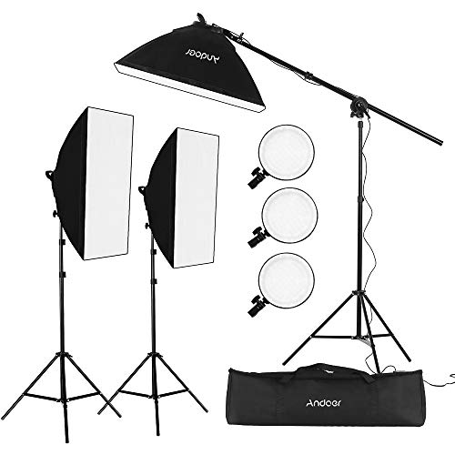 Andoer Studio Photography Softbox LED Light Kit Including 20 * 28 Inches Softboxes 45W Bi-color Temperature 2700K/5500K Dimmable LED Lights 2 Meters Light Stands Carry Bag, 3 Packs