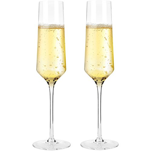 Bella Vino Crystal Champagne Flute Glasses - Beautifully Designed Hand Blown Champagne Glasses, 100% Lead Free Premium Crystal Glass, Perfect for Any Occasion,Great Gift (Flute Glass)