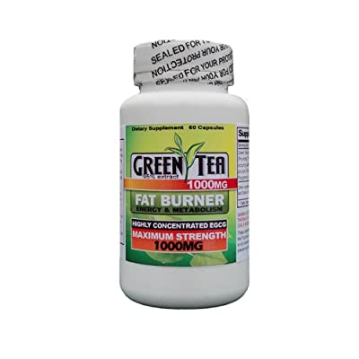 Green Tea Diet Pill - Supplement 1000mg - 60 Ct Bottle - 95% Pure Extract - Weightloss Fat Burning