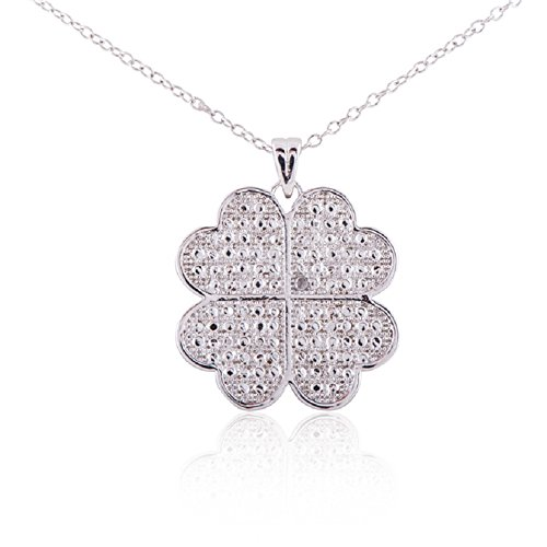 Sterling Silver Rhodium Plated Diamond Accent Four Leaf Clover Pendant Necklace, 18