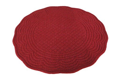 """Red Cotton Quilted 15"""" Reversible Round Placemat for Table Heat-Resistant (Pack of 4) - Packing include: 4pcs Material: cotton Size Approx: 15"""" in diameter - placemats, kitchen-dining-room-table-linens, kitchen-dining-room - 416pykW6lvL -"""