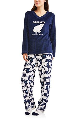 Secret Treasures Hibernate With Me Polar Bears 3 Piece Fleece Pajama Sleep Set w/Socks - 2XL (Treasure Bear)