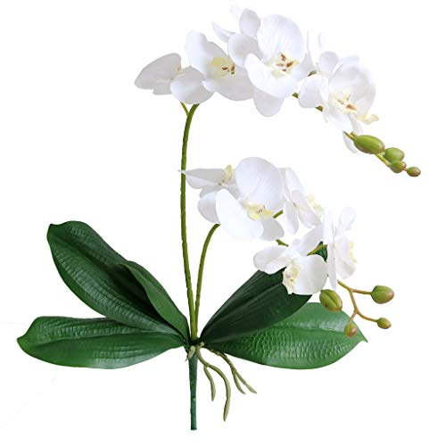 Leaf Orchid Flower - Jasming Artificial Phaleanopsis Flowers Fake Orchids Leaves Branches for Home Bonsai Garden Decoration (White)