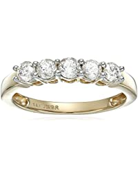 14k Yellow Gold 5 Stone Diamond Anniversary Ring(1/2cttw, I-J color I2-I3 clarity)