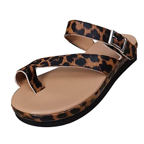 Dasuy Women Platform Wedge Sandals Ankle Strap Open Toe Flat Sandals Flip Flops Slide Slippers with Arch Support Beach Shoes (US:9, Brown)