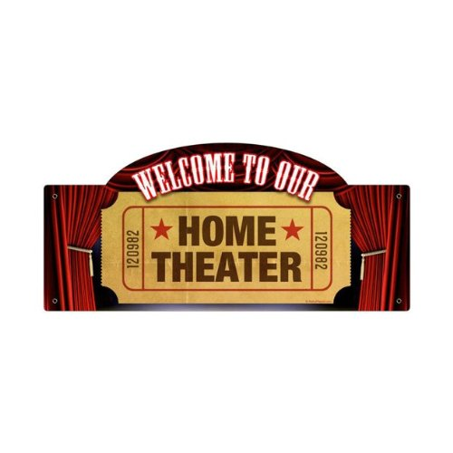 Welcome Home Theater Vintage Metal Sign Movie Room 17 X 7 Steel Not Tin by The Vintage Sign Store