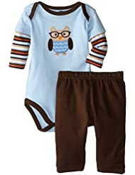 Hudson Baby Baby-Boys Owl Long Sleeve Bodysuit and Pant Set