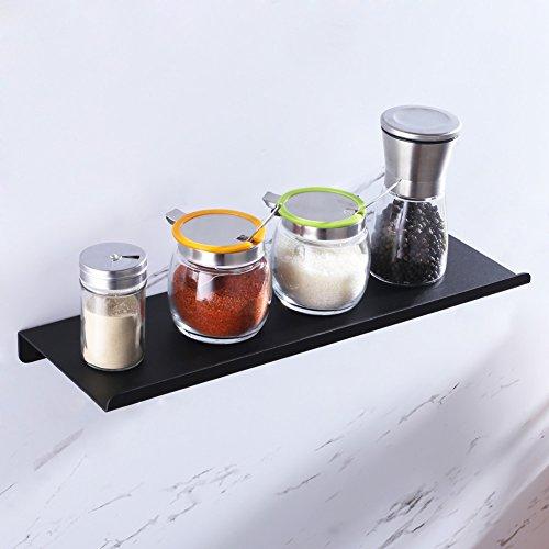 Aomasi Floating Shelf 16'', Reversible Spice Rack Kitchen Living Room Home Decorative Rail Ledge Organizer Wall Mount, Aluminium Matte Black by Aomasi