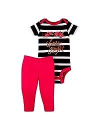 Lamaze - Conjunto de Body y pantalón de Manga Corta orgánico para bebés y niñas, 2 Piezas