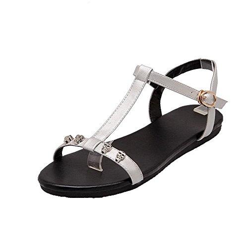 Low Patent Womens Silver AalarDom Open Buckle Leather Solid Toe Sandals Heels 7WpW6Snxwq