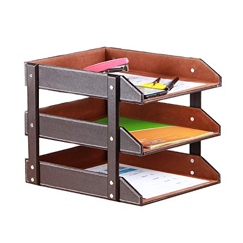 - Stacking Letter Trays Leather Office Desk Supply Organizer, 3-Tier Files Sorter Workplace Desktop Storage Holder for Document/Paper/Stationery/Magazine/Newspaper/Mail/Sundries (Brown)