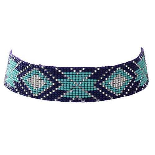 El Allure Preciosa Jablonex Seed Bead American Navajo Seed Beaded Choker Navy Blue and Teal Patterned Handmade Personalized Delicate Costume Fashion Unique Native Necklace for ()
