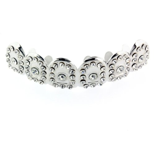 Hip Hop Royal Out Iced Out Silver Tone Top Teeth Grillz Hip Hop Bling Cz by L & L Nation