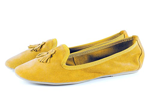 silfershoes - nappettina in Genuine Leather With Bow, Mustard