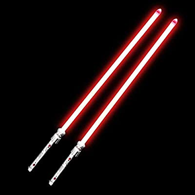 YDDSABER Maul Lightsaber Double Blade Jedi Sith Darth Light Saber with Red Light and Sound (Motion Sensitive) for Galaxy War Fighters, Metal Hilt: Toys & Games