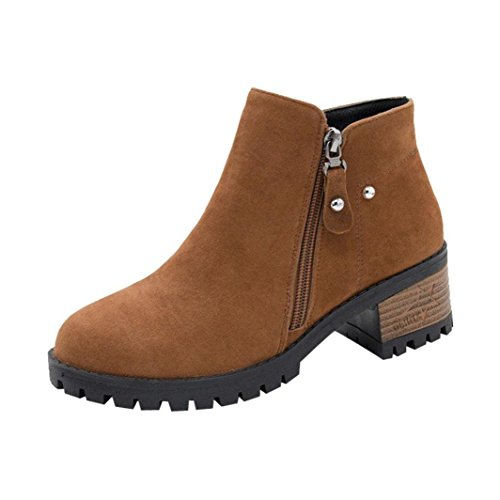 Low Faux Brown Side Rivets by Suede Zipper Inkach Ankle Shoes Boots Booties Women Heel q0xwFnfp
