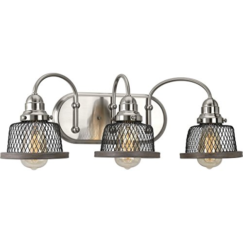 - Progress Lighting P300044-009 Tilley Brushed Nickel Three-Light Bath & Vanity,