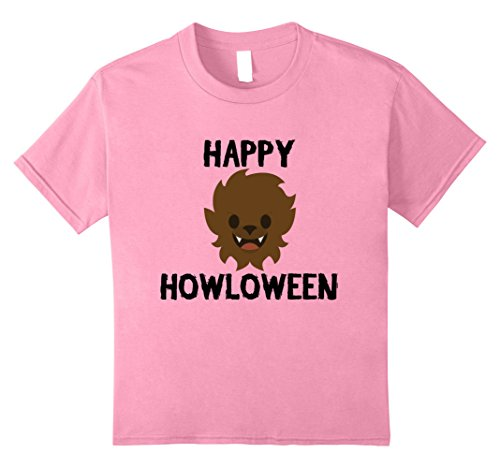 Last Laugh Clown Child Costumes (Kids Halloween Werewolf Shirt - Howloween Wolf Funny Tee 8 Pink)
