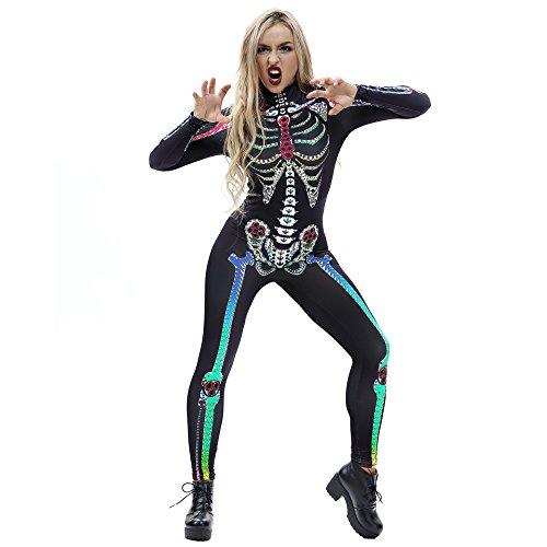 JJEUWE Women's Skeleton Halloween Bodysuit Costume Stretch Skinny Catsuit Jumpsuit S ()