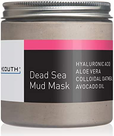 YEOUTH Dead Sea Mud Face Mask with Hyaluronic Acid, Aloe, Oatmeal, and Avocado, Minimizes Pores, Reduces Wrinkles, Clears Blackheads, Acne and Helps Oily Skin, Rejuvenates 8oz