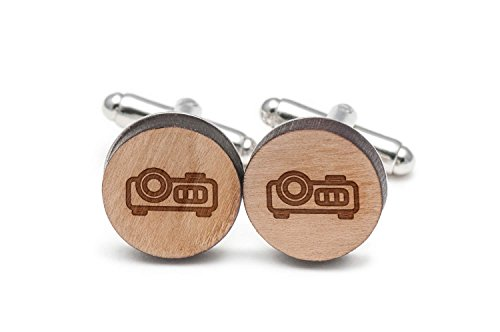 Projector Cufflinks, Wood Cufflinks Hand Made in the USA