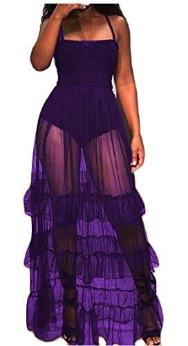 Flowy Sheer Dress Long Jaycargogo Mesh Strap Maxi Sexy Purple Sleeveless Women xUxwqZBY