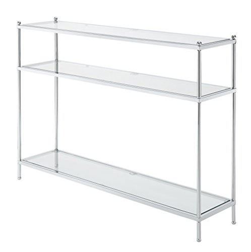 Convenience Concepts Royal Crest Collection Console Table, Chrome/Glass (Glass Tv For Table)