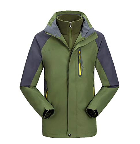 Warm Set Windproof Piece in 3 Jacket 1 Men's Two Green Outdoor Waterproof RzYAT