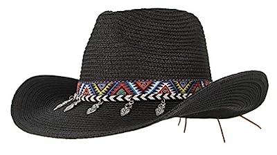 Gemvie Cowboy Hat Western Style Cowboy Straw Hat Shapesble Brim Band & Pendant Decor