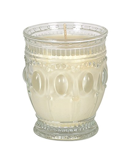 Creative Co-Op Flaire Embossed Glass Jar Candle, 3.5-Inch, Orange Vanilla Scent