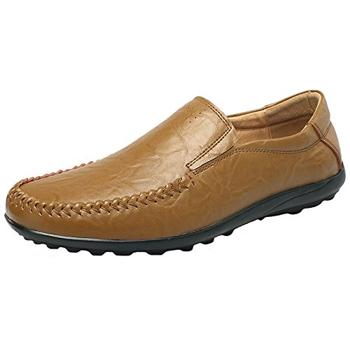 JIONS Mens Dress Shoes Driving Moccasins Leather Loafers Slip-On Casual Boat Shoes A - Khaki rUJbW1yJv2