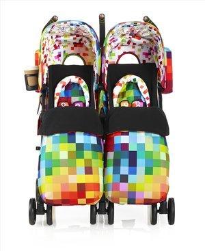 Cosatto Supa Dupa Pixelate Double Stroller, Multi