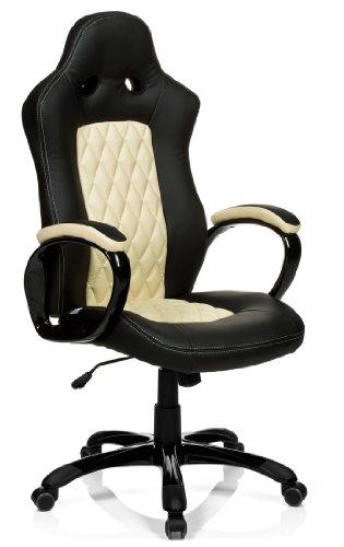 hjh OFFICE 621845 Gaming Stuhl / Bürostuhl RACER EXECUTIVE Kunstleder schwarz/beige