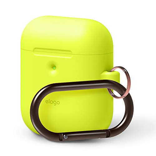 elago AirPods Hang Case [Neon Yellow] - [Front LED Visible][Supports Wireless Charging][Extra Protection][Added Carabiner][2019 Latest Model] - for AirPods 2 Wireless Charging Case (Neon Ipod Cases)