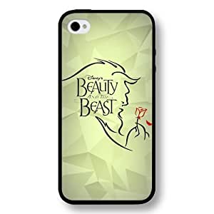 Disney Cartoon Beauty and The Beast, Hard Plastic Case for iPhone 4 & 4s - Personalized Disney iPhone 4 Case - Black